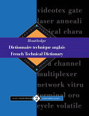 Routledge Dictionnaire Technique Anglais Of Some 100 000 Keywords In Both French And