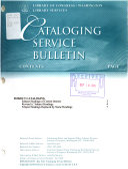 Cataloging Service Bulletin Book PDF