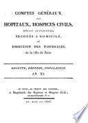Comptes généraux des hôpitaux, hospices civils, enfans abandonnés; secours à domicile, et direction des nourrices, de la ville de Paris
