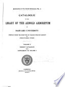 Catalogue of the Library of the Arnold Arboretum of Harvard University