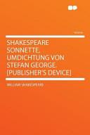 Shakespeare Sonnette Umdichtung Von Stefan George Publisher S Device