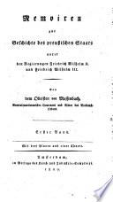 Memoiren zur Geschichte des preußischen Staates unter den Regierungen Friedrich Wilhelm II. und Friedrich Wilhelm III.