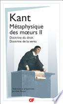M Taphysique Des M Urs Tome 2 Doctrine Du Droit Doctrine De La Vertu