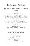 Technologisches wörterbuch in englischer und deutscher sprache: th. Deutsch-englisch