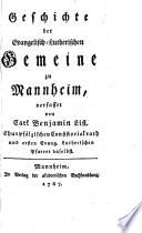 Gesch. der evangelisch-lutherischen Gemeine zu Mannheim