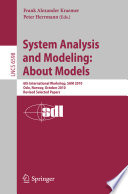 System Analysis And Modeling About Models book