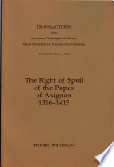 The Right Of Spoil Of The Popes Of Avignon 1316 1415