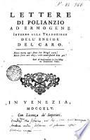 Lettere di Polianzio ad Ermogene intorno alla traduzione dell Eneide de Caro