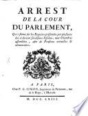Arrest de la cour du Parlement ... concernant les pensions annuelles des Jesuites