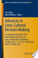 Advances In Cross Cultural Decision Making