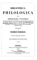 Bibliotheca philologica oder Alphabetisches Verzeichniss...