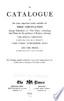 A Catalogue of the Most Important Books Available for Free Circulation Among Subscribers to  The Times