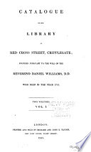 catalogue of the library in red cross street