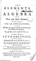 The Elements of Algebra in a New and Easy Method