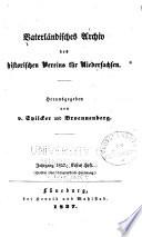 Vaterländisches archiv des Historischen vereins für Niedersachsen