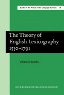 download ebook the theory of english lexicography 1530–1791 pdf epub