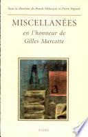 Miscellan  es en l honneur de Gilles Marcotte