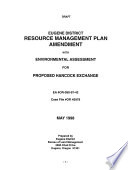 Draft Eugene District Resource Management Plan Amendment with Environmental Assessment for Proposed Hancock Exchange