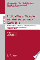 Artificial Neural Networks and Machine Learning    ICANN 2012