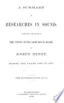 A Summary of Researches in Sound