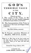 God s Terrible Voice in the City     the History of the     Plague and Fire in London