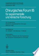 102. Kongreß der Deutschen Gesellschaft für Chirurgie München, 10.–13. April 1985