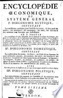 ENCYCLOPÉDIE OECONOMIQUE, OU SYSTÊME GÉNÉRAL