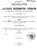 Bibliographie der deutschen Zeitschriften-literatur