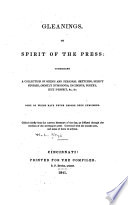 Gleanings  Or  Spirit of the Press