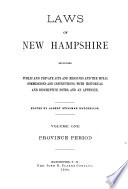 Laws of New Hampshire  Province period  1679 1702