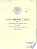 Annual Report Of The President Of The United States On The Trade Agreements Program