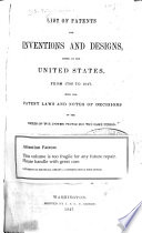 List of Patents for Inventions and Designs