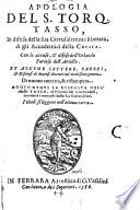 Apologia del S  Torquato Tasso in difesa della sua Gerusalemme liberata agli Academici della Crusea