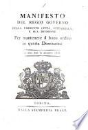 Regj editti  patenti  manifesti  e proclami stati pubblicati  e distribuiti