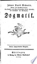 Johann David Michaelis ... Dogmatik
