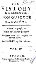 The History Of The Renowned Don Quixote De La Mancha Translated From The Original By Several Hands And Publish D By Peter Motteux Adorn D With Sculptures The Second Edition