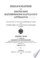 Bibliographie Der Deutschen Naturwissenschaftlichen Litteratur
