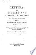 Lettera di Diocleziano a Massimiliano Erculeo con alcune altre lettere
