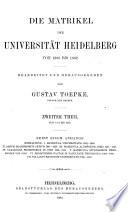 Die Matrikel der Universität Heidelberg ...