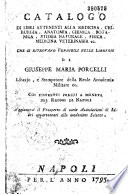 Catalogo di libri... vendibili nelle librerie di Giuseppe Maria Porcelli,...