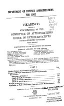 Department of Defense Appropriations for 1982  Budget update by secretary of defense