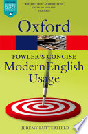 Fowler s Concise Dictionary of Modern English Usage