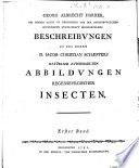 Beschreibungen zu des Herrn D. Jacob Christian Schaeffers Natürlich Ausgemahlten Abbildungen Regensburgischer Insecten