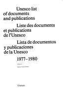 Unesco List of Documents and Publications