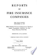 Reports of Fire Insurance Companies for Year Ending December 31