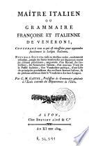 Le Maitre italien ou Grammaire françoise et italienne de Vénéroni