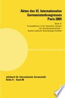 Akten des XI. Internationalen Germanistenkongresses Paris 2005