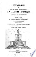A CATALOGUE OF AN EXTENSIVE COLLECTION OF ENGLISH BOOKS
