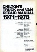 Chilton S Truck And Van Repair Manual 1971 1978