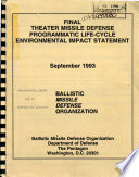 Theater Missile Defense Tmd Programmatic Life Cycle